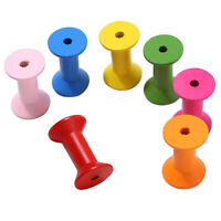 100pcs Wood Colorful Cylindrical Bobbins Empty Thread Spools Sewing Findings