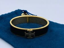 Tory Burch black Enameled Raised Logo Hinge Bracelet &Free Shipping