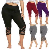 Fashion Plus Size Women Lace Skinny Pants Yoga Sport Pants Leggings Trousers USA