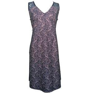 Motherhood Navy Blue Lace Pink Lined Gender Reveal Sleeveless Dress L