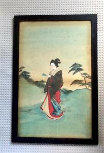 Pair of Framed 1880s Japanese Paintings on Silk, Japonism, Japan Craze