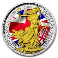 2019 1 Oz Silver £2 UK MAJESTIC BRITANNIA Coin WITH 24K GOLD GILDED.