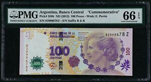 2012 Argentina 100 Pesos Evita Peron Commemorative, P-358b, PMG 66 EPQ Gem UNC
