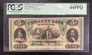 1800's $5 The Citizens' Bank - New Orleans, LOUISIANA Note PCGS 64 PPQ