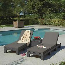 More details for keter daytona sun lounger allibert rattan garden furniture grey or cream cushion