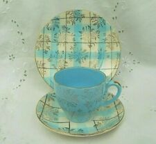 More details for washington pottery harlequinade chintz tea trio -cup saucer & plate - pale blue