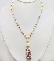 SALE 4-5mm Baroque multicolor Pearl & 6-7mm White Pearl Tassel necklace-nec6441
