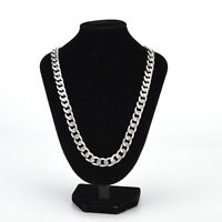 Yellow Solid Gold Filled/silver Cuban Chain Necklace Thick Men jewelry Women MO