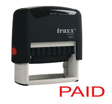 Paid Self Inking Rubber Stamp Red Ink Stamper Office Business Text Print Quality