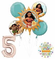 Moana 5th Birthday party Supplies and Princess Balloon Bouquet Decorations