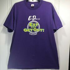 """VINTAGE Ed Debevic's Diner T-Shirt- """"EAT AND GET OUT!-CHICAGO"""", Size:XL, Purple"""
