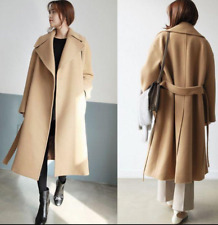Women's Long Loose Coat Wool Blend Cashmere Outwear Slim Fit Thicken Vintage P7