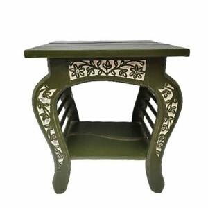 SMALL WOODEN SIDE TABLE / END TABLE ENHANCED FLORAL CARVED FOR LIVING ROOM