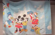 Vintage Disney Pillow Case Mickey Minnie Donald 70s Fabric Cutter Faded Flaws