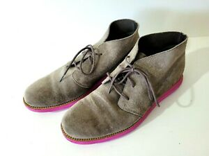 COLE HAAN Mens LUNARGRAND Wing Grey Suede  Pink Sole Chukka Boots Shoes Sz 10.5