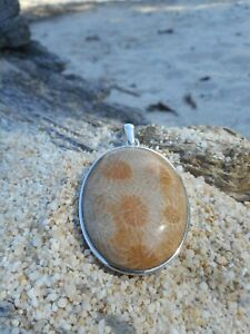 LARGE Fossilised Coral 925 Sterling Silver Pendant