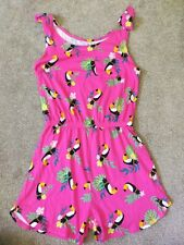 TU Girls Pink Toucans Design Cotton Playsuit All in One Age 10 Years VGC