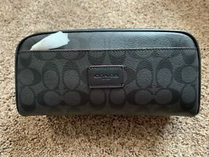 NWT Coach Leather Travel Kit Toiletry Shave Bag Black/Black/Oxblood F39764