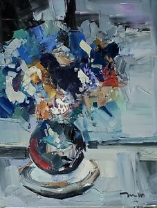 JOSE TRUJILLO Oil Painting IMPRESSIONISM STILL LIFE FLOWERS COLLECTIBLE ARTWORK