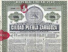 Republica MEXICANA Ciudad de Puebla de ZARAGOZA 5% Bond 1910 (500 $) + Coupons