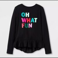 CAT & JACK Girls' L/S Black Oh What Fun Sparkle Christmas Holiday Top Ruffle Hem