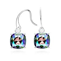 Thick 18K White Gold GF Made With SWAROVSKI Element Cushion Cut Dangle Earrings