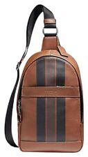 Coach F72226 Charles Pack Varsity Leather Sling Dark Saddle Black Mahogan