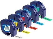 5 x Nastro per Dymo LetraTag 12mm x 4m - 91201 91202 91203 91204 91205 12267