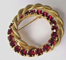 broche ancienne double rosace couleur or cristaux rouge rubis bijou vintage 356
