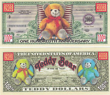 Two Teddy Bear Novelty Money Bills by NoveltyCurrency # 172