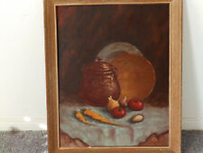 Mid Century Composition 'ONIONS & TOMATOES' by Taimel Vintage Oil Painting