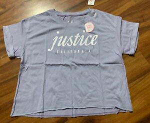 NWT Justice Girl's Purple/blue Color Changing Top Shirt Boxy Tee Size 10 New