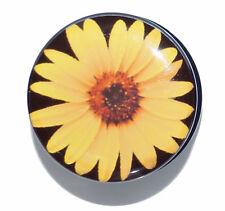 YELLOW DAISY SUNFLOWER PLUG ACRYLIC SCREW FLESH TUNNEL EAR STRETCHER 6MM - 25MM