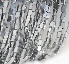 8X4MM SILVER HEMATITE GEMSTONE FLAT PRISM 8X4MM LOOSE BEADS 16""