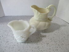 """2 ANTIQUE CREAMERS, OLD """"USA"""" LENOX & MINIATURE CUT MILK GLASS, VERY COLLECTIBLE"""