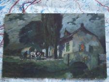 Kutsche Haus Wald Bach Landschaft Gemälde Kunst Postkarte Ansichtskarte 3304