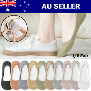 1/5 Pairs Women Sock Low Cut Invisible Cotton No Show Footlet Breathable No-Slip