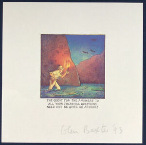 Glen Baxter Signed Print 1993 - The Quest For The Answers...