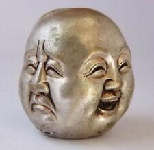 Antiquités Tibet Silver archaïque statue de Bouddha du 4 de face tête H:6cm