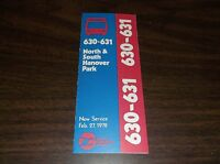 FEBRUARY 1978 CHICAGO RTA ROUTE 630/631 HANOVER PARK BUS SCHEDULE