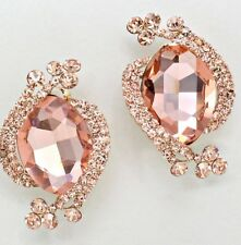 "2"" Big Clip On Champagne Rose Gold Peach STUD Crystal Rhinestone Earrings"