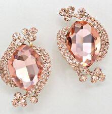 "2"" Big Clip On Champagne Rose Gold Peach STUD Crystal Rhinestone Earrings"