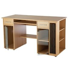 Alphason San Jose Beech Effect Utility Desk - Glass Doors - Home/Small Office