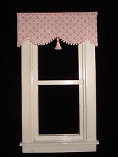 "Dollhouse Curtains - Shade - Pink with Tassel - 3 "" wide"