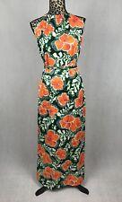 Hawaiian Dress Vtg Maxi Drawstring Collar Keyhole L Sash Cruise Tropical Floral