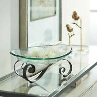 Iron Scroll Stand with Oval Glass Bowl
