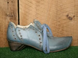 ROVERS Blue Leather Oxfords Booties EUR 37 | US 6.5 to 7 - Made in Portugal