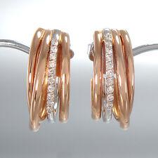 Halb-Creolen - 750/18K Weiß- & Rotgold- 20 Diamanten 0,18 ct TW-VS- gesamt 6,4 g