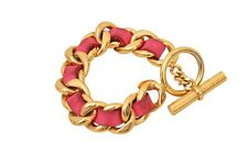 CHANEL Pink Leather / Gold Plated Chain Bracelet - E01914