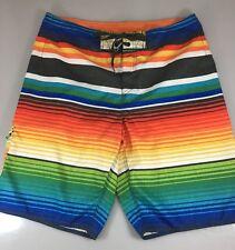 Hang Ten Mens 34 Multi-Color Stripes Board Shorts Swim Trunks Unlined